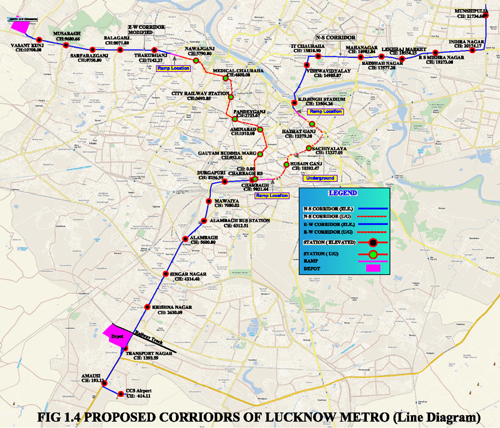 Project Management Subway Map.Project Status Lucknow Metro